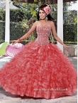 Discount Beading and Ruffles Ball Gown Watermelon Red Quinceanera Dresses for 2015 MASY045