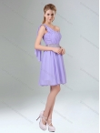 Discount 2015  Beaded and Ruched Short Dama Dress in Lavender BMT005B