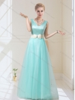Discount Luxurious  V Neck Floor Length Dama Dresses with Bowknot for 2015 BMT030D