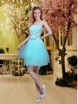 Discount 2016 Fall Perfect Scoop Beaded Dama Dresses with Appliques in Aqua Blue BMT032E