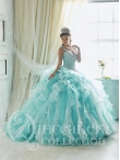 Discount Hot Sale Brush Train Straps White and Aqua Blue Sweet Sixteen Dress with Beading and Ruffles