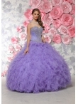 Discount Modern Puffy Skirts Beaded and Ruffled Sweet Sixteen Dress in Lavender