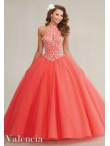 Discount Modest Cutout Bust High Neck Orange Red Beaded Sweet Sixteen Dress