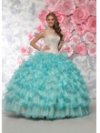 Discount Most Popular Champagne and Aqua Blue Quinceanera Gown with Appliques and Ruffles