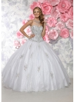 Discount New Style Tulle White Sweet Fifteen Dress with Beading and Appliques