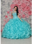 Discount See Through Scoop Beaded and Ruffled Aqua Blue Quinceanera Gown