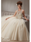 Discount See Through Scoop Neckline Champagne Quinceanera Dress with Beading