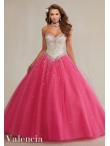 Discount Top Selling Princess Beaded Bodice Hot Pink Sweet Fifteen Dress in Tulle