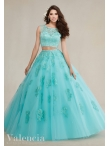Discount Two Pieces See Through Scoop Beaded and Applique Aqua Blue Quinceanera Gown