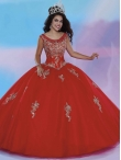 Discount Cheap See Through Scoop Applique Red Sweet 16 Dress with Zipper Up MSRY034