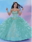 Discount Sophisticated Beaded and Ruffled Layers Sweet 16 Dress in Turquoise MSRY040